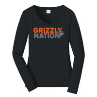 Grizzly Nation - Ladies Long Sleeve Fan Favorite V Neck Tee Thumbnail