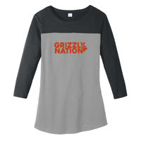 Cal Grizzly Nation Glitter - Juniors Rally 3/4 Sleeve Tee Thumbnail